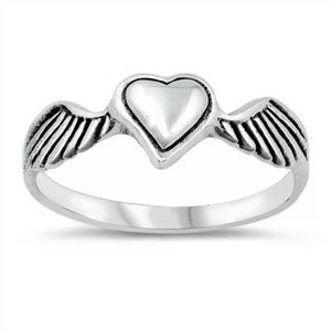 Heart wings solid sterling silver size 8